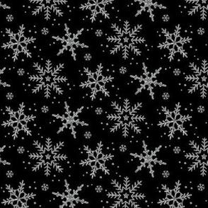 Snowflake Shimmer in Black, half scale