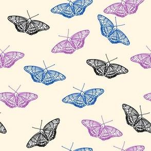 Butterflies in blue, purple and black