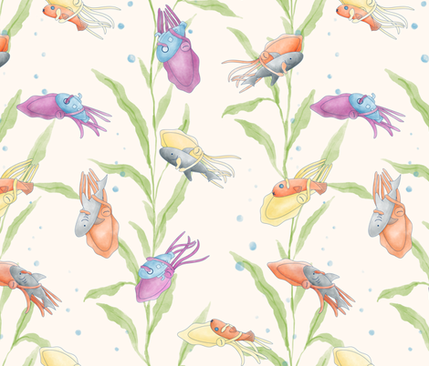 Cuddly cuttlefish  fabric by anom-aly on Spoonflower - custom fabric