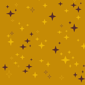 stars_mini_in_mustard_and_brown_on_ocre