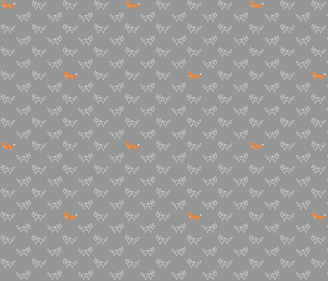 Tangram foxes - grey and orange fabric by little_fish on Spoonflower - custom fabric
