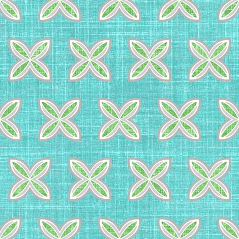 Faux linen Cuatro in aqua motif fabric by joanmclemore on Spoonflower - custom fabric