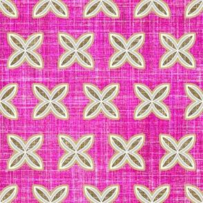 Faux linen motif in berry pink