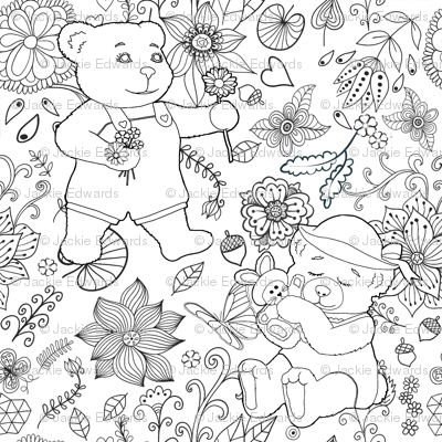 Color Me Springtime Teddy Flora - Day 1l