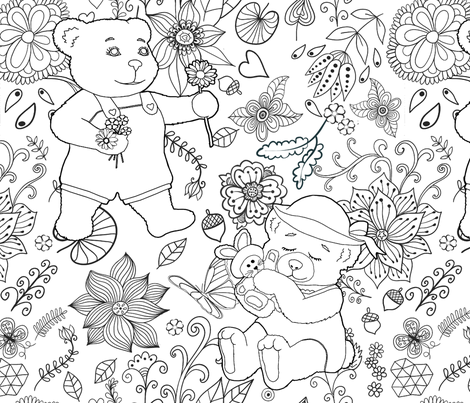Color Me Springtime Teddy Flora - Day 1l fabric by spicetree on Spoonflower - custom fabric