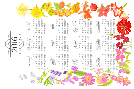 2016CalendarTowel fabric by blairfully_made on Spoonflower - custom fabric