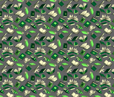 Spellbooks_GreenAndSilver fabric by elizabeth_baddeley on Spoonflower - custom fabric