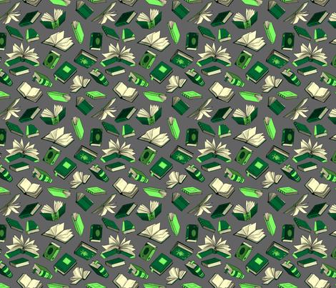 Spellbooks_GreenAndSilver fabric by elizabeth_baddeley on Spoonflower - custom fabric