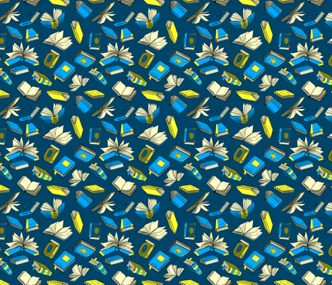 Spellbooks_BlueAndBronze fabric by elizabeth_baddeley on Spoonflower - custom fabric