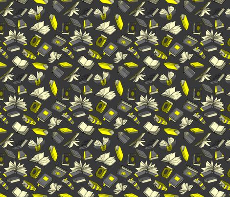 Spellbooks_ YellowAndBlack fabric by elizabeth_baddeley on Spoonflower - custom fabric