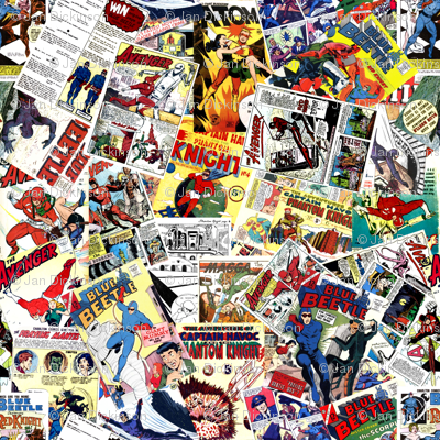 vintage comic book heroes - LARGE PRINT