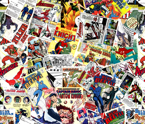 vintage comic book heroes - LARGE PRINT fabric by janbalaya on Spoonflower - custom fabric