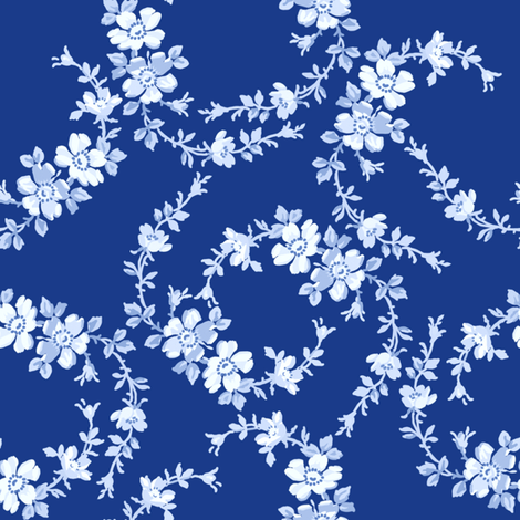 Lilla Wildflowers in deep blueberry fabric by lilyoake on Spoonflower - custom fabric