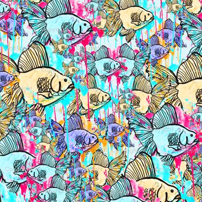 Rainbow fish fabric studio polly spoonflower for Rainbow fish fabric