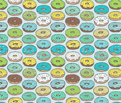Donuts in Blue fabric by caja_design on Spoonflower - custom fabric