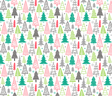 Christmas Holiday Forest Trees  fabric by caja_design on Spoonflower - custom fabric