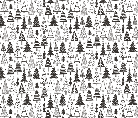 Christmas Holiday Forest Trees Black White fabric by caja_design on Spoonflower - custom fabric