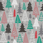 Christmas Forest Trees on Grey