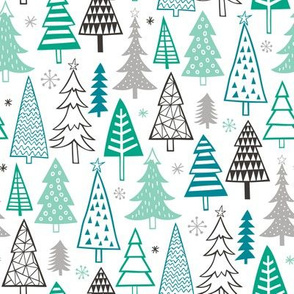 Christmas Forest Trees Mint Green