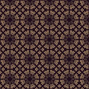 Dark Aubergine and Tan Geometric