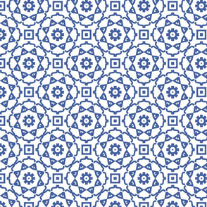 Circular Geometric in Blue and White