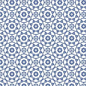 Circular Geometric in Blue and White