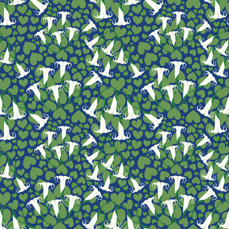 White Trumpets in Dark Blue Night fabric by amyperrotti on Spoonflower - custom fabric