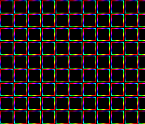 Dean's Rainbow Squares on Black fabric by midcoast_miscellany on Spoonflower - custom fabric
