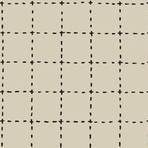stitched grid in tan and black