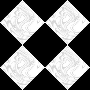 Wonderland Chessboard Check ~ Black and White Marbled with Silver Leaf