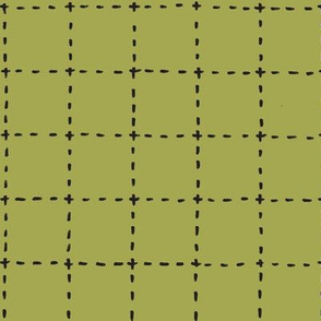 stitched grid in olive and black