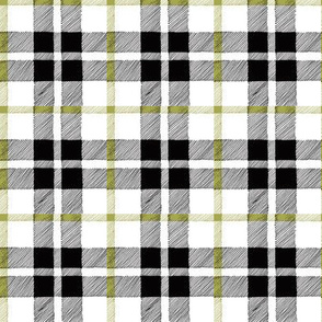 fall plaid olive/black/white