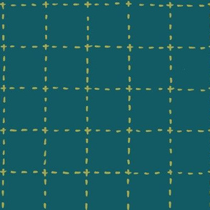 stitched grid in olive and teal