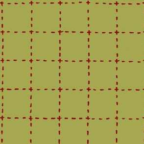 stitched grid in olive and red