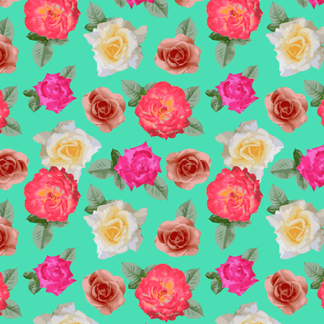 Roses on turquoise  fabric by mintpeony on Spoonflower - custom fabric