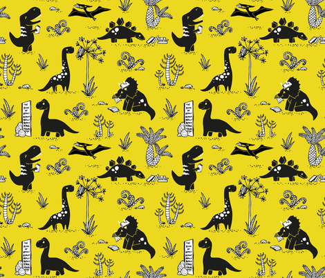 Library Dinos - Black on Yellow fabric by pinky_wittingslow on Spoonflower - custom fabric
