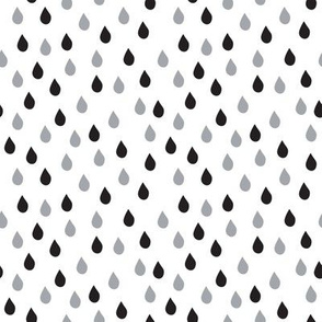Raindrops (Black White Gray)
