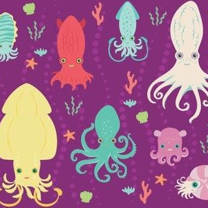 charming cephalopods in magenta