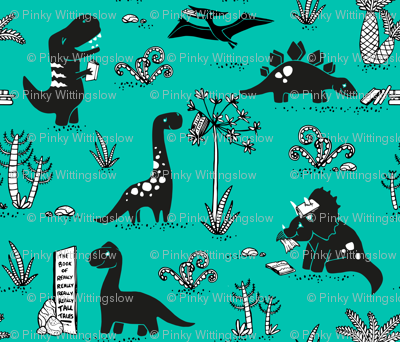 Library Dinos - Black on Aqua