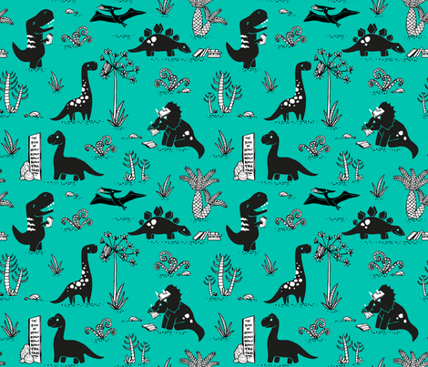 Library Dinos - Black on Aqua fabric by pinky_wittingslow on Spoonflower - custom fabric