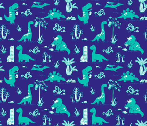 Library Dinos - Aqua on Navy fabric by pinky_wittingslow on Spoonflower - custom fabric