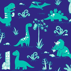 Library Dinos - Aqua on Navy