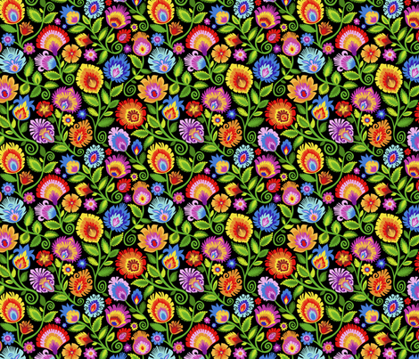 Wildflowers on Black-medium fabric by groovity on Spoonflower - custom fabric