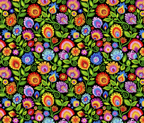Wildflowers on Black-large fabric by groovity on Spoonflower - custom fabric