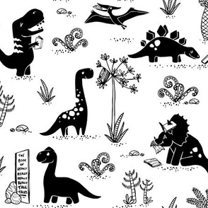 Library Dinos - Black on White