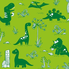Library Dinos - Green on Green