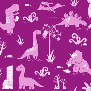 Library Dinos - Mauve on Purple