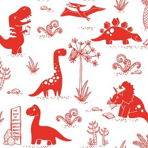 Library Dinos - Red on White