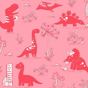 Library Dinos - Coral on Pink