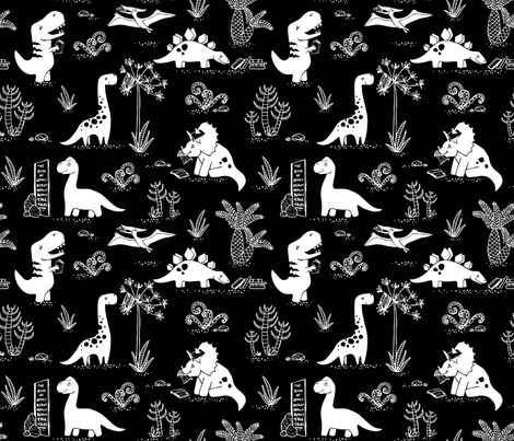Library Dinos - White on Black fabric by pinky_wittingslow on Spoonflower - custom fabric